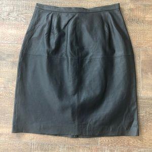 Styleworks Vintage Black Leather High Waist Skirt